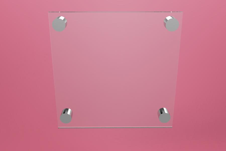 Tabliczka dystansowa plexi (PMMA) 20×20 cm, na 4 złączkach dystansowych
