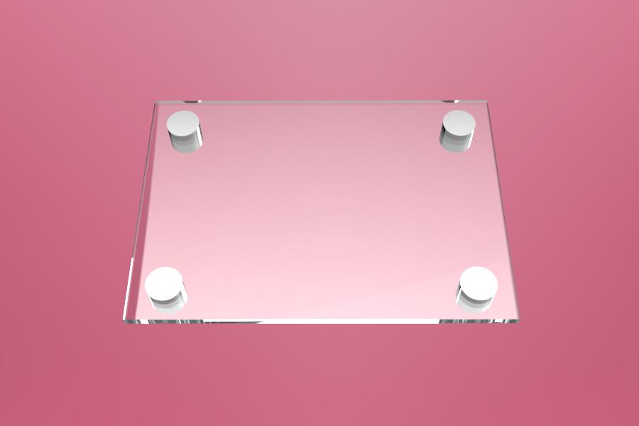 Tabliczka dystansowa z plexi (PMMA) 21×15 cm, na 4 złączkach dystansowych