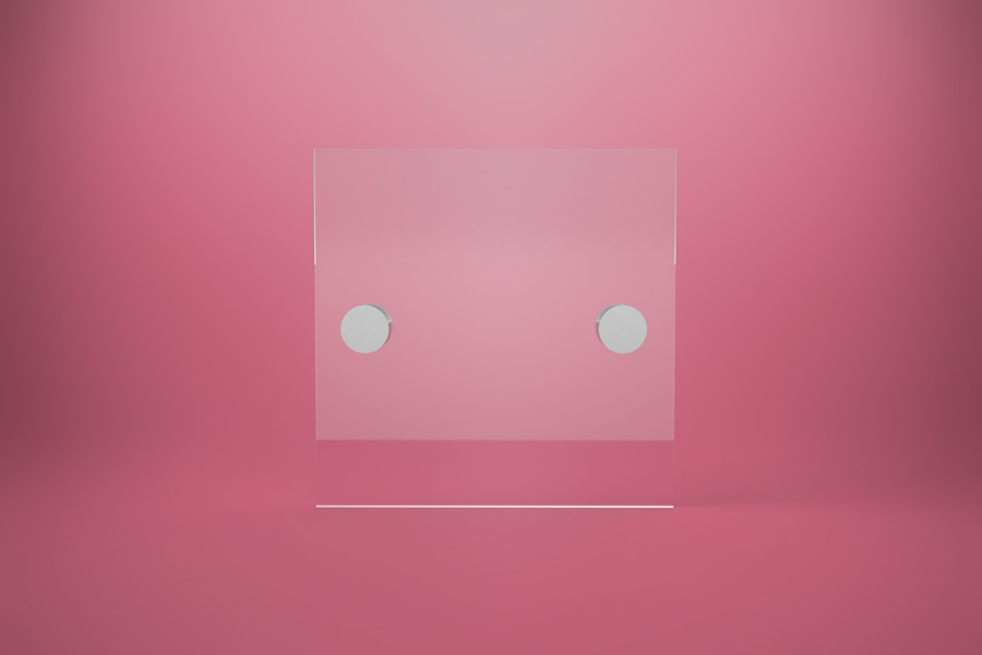 Tabliczka dystansowa szklana 15×15 cm, na 2 złączkach dystansowych