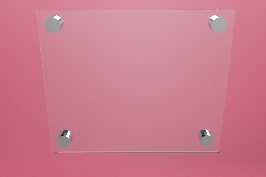 Tabliczka dystansowa plexi (PMMA) 25×21 cm, na 4 złączkach dystansowych