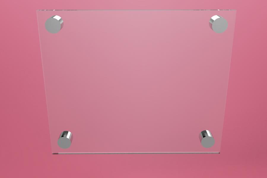 Tabliczka dystansowa szklana 25×21 cm, na 4 złączkach dystansowych