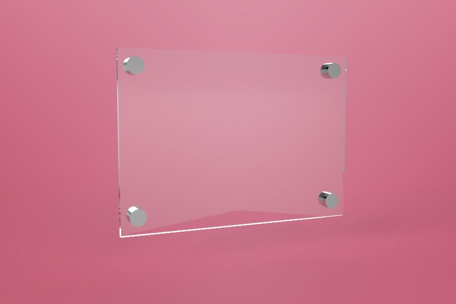 Tabliczka dystansowa plexi (PMMA) 30×21 cm, na 4 złączkach dystansowych